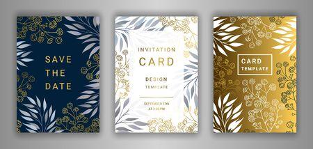 Wedding invitation card template EPS 10 vector set. Elegant eucalyptus branches, leaves, gypsophila flower background. Save the date phrase. Black, white, gold decor. Illusztráció