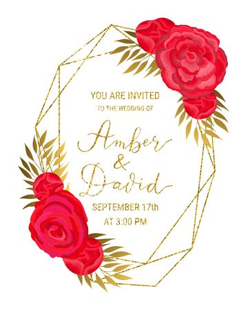 Vintage luxury style crystal gold glitter geometric textured frame for wedding invitation card design. Beautiful red flowers, golden branches, leaves decor. EPS 10 vector illustration