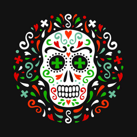 Mexican style ornamental skull. National flag colored ornate circle backdrop of flourishes, hearts and crosses. EPS 10 vector tribal design colorful illustration.