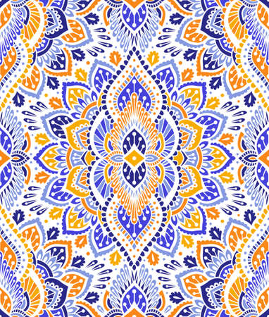 Indian style seamless pattern with tribal ornament. Ornamental ethnic background collection. Can be used for fabric prints, surface textures, cloth design, wrapping. EPS 10 vector illustration.