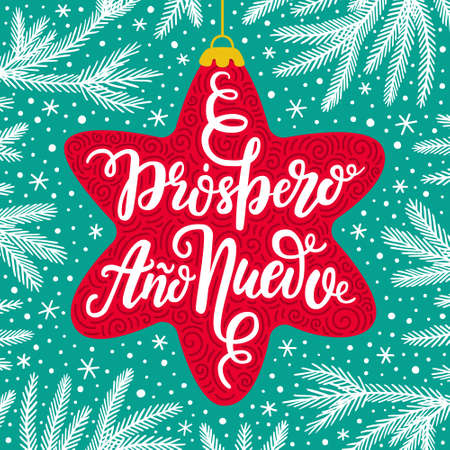 Wishing prosperity, well-being hand drawn lettering phrase in Spanish language on the red star background with fir tree branches and falling snow. Greeting card design EPS 10 vector illustration. Illustration