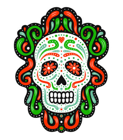 Traditional mexican sugar skull. Ornate decorative human skeleton head on the dark background. Latin american Day of the Dead celebration symbol. National flag colored EPS 10 vector illustration.