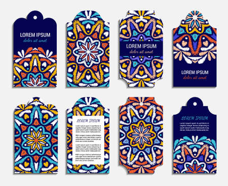 Embroidery style colorful mandala square card set. Front and back pages. Bright floral ornamental vintage style blanks. EPS 10 ethnic design vector backgrounds. Clipping masks. Illustration