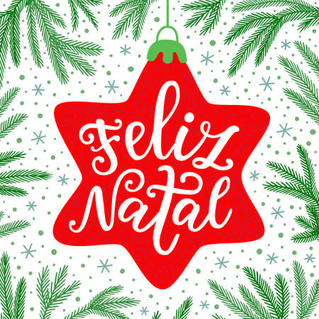 Merry Christmas hand drawn phrase in Portuguese language on the traditional red decorative star and green fir tree branches background. Vintage style greeting card design EPS 10 vector illustration Illustration