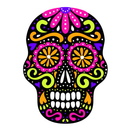 Mexican style ornamental sugar skull with flourish and flower ornament. Day of the Dead traditional ornate symbol. Floral decoration. EPS 10 vector tribal design colorful illustration. Illustration