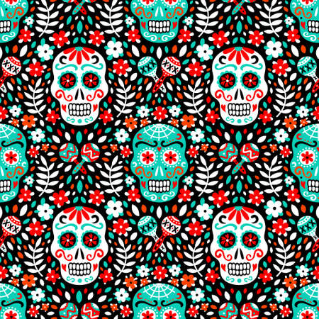 Latin american traditional Day of the Dead background of ethnic mariachi musical instruments, sugar skulls and flowers for fabric prints, wallpaper. Illustration