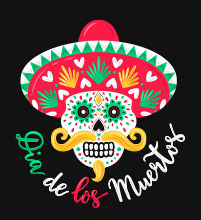 Colorful ornate skull in Mexican hat with mustache. Day of the Dead hand drawn lettering phrase inscription in spanish language. Holy death symbol.  vector illustration.