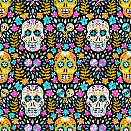 South american Day of the Dead background of ethnic sugar skulls, marigold flowers and traditional mexican maracas musical instruments for fabric prints, wallpapers. EPS 10 vector seamless pattern. Illustration
