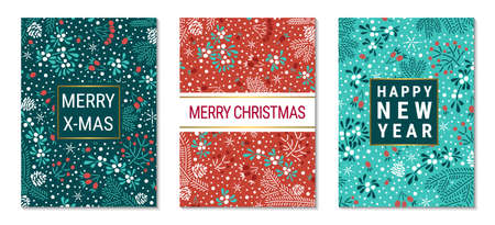 Floral Christmas colorful greeting card template EPS 10 vector set. Elegant fir branches, cones, mistletoe leaves, red elderberry and rowan berry pattern background. Illustration