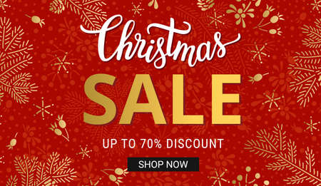 Christmas sales banner template with handdrawn lettering, gold fir tree branches and snowflake decorations on the red backgound. EPS 10 vector Illustration