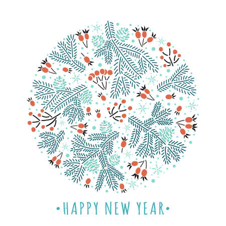 Winter style round composition of rowan red berries, spruce twigs, cones with happy new year text. EPS 10 vector background.