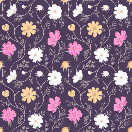 Cosmos flower background of autumn shades. Elegant floral ornament for textile, wrapping paper, bad linen, clothes design. EPS 10 vector seamless pattern.