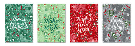 Floral Christmas red, green greeting card template vector set. Elegant spruce tree twigs, mistletoe leaves and berries, bunches of rowan pattern background. Hand-drawn Happy holidays lettering phrase