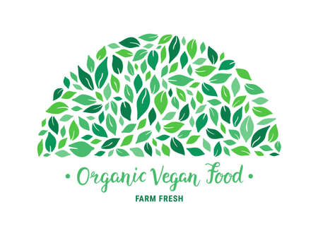 Green salad leaves semi-round pattern. Organic vegan food hand drawn lettering text inscription. Colorful ecologic background. Healthy meal plant-based concept template. Vector EPS 10 illustration