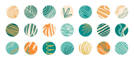 Social network highlight story covers. Abstract art stylish round avatars shades of trendy bottle-green orange and yellow colors with stripes, waves, floral motives. EPS 10 vector circle backgrounds