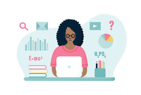 Young curly haired african american student girl in glasses and pink t-shirt sitting at the table with laptop, learning online. Hand-drawn flat EPS 10 vector illustration with dotted texture effect