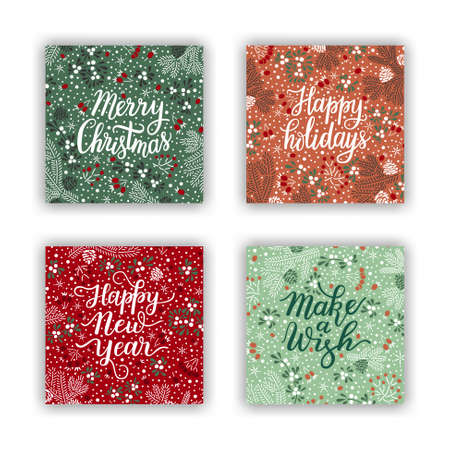 Have a holly jolly Xmas hand drawn lettering phrase on the christmas colored background with spruce twigs, snowflakes, white mistletoe and red rowan berries. EPS 10 vector greeting card design.
