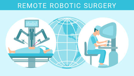 Remote control robotic surgery flat graphic design illustration. Patient operated by a robot assistant apparatus with display. Stomach operation virtual future medicine concept. EPS 10 vector banner.