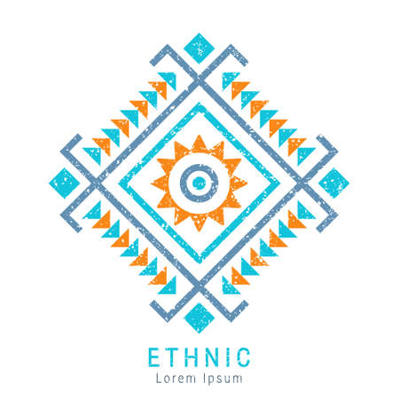 Colorful Aztec style geometric ornament. Indian ornate design. Tribal decorative template. Ethnic ornamentation. Grungy shabby chic texture. EPS 10 vector illustration.