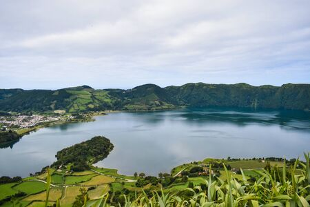 Famous green and blue lakes on San Miguel island. Unknown Potugal.
