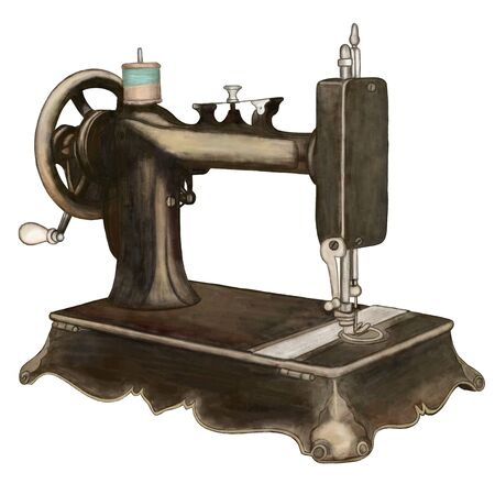 Vintage sewing machine, watercolour illustration.