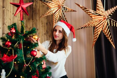 inter: girl in studio with New Years interior 1