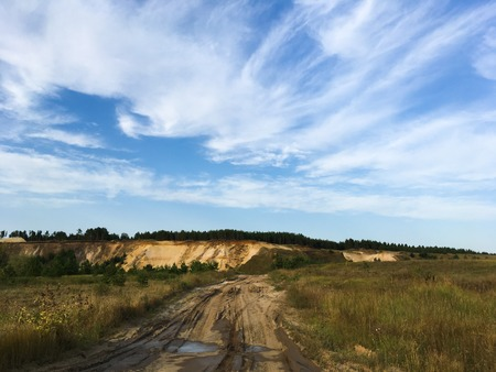 blue sky and an abandoned sand pit 1 Stock Photo