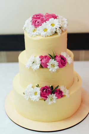 little beautiful cakes on a white plate Banque d'images