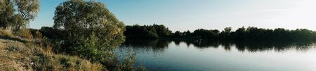 panorama of the river and blue sky 1 Banco de Imagens