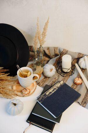 autumn layout with white mini pumpkins and tea with lemon Фото со стока