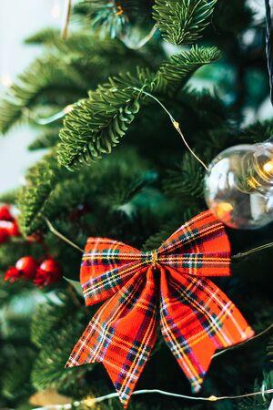 Christmas decor with toys decorated Christmas tree Фото со стока - 135576532