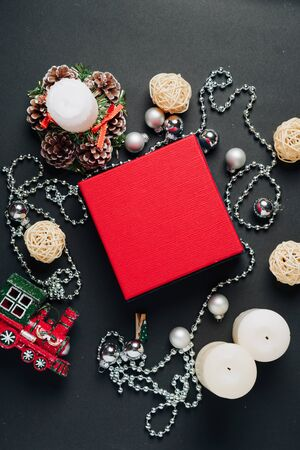 set of items for the new year, layout for the holiday Christmas Фото со стока