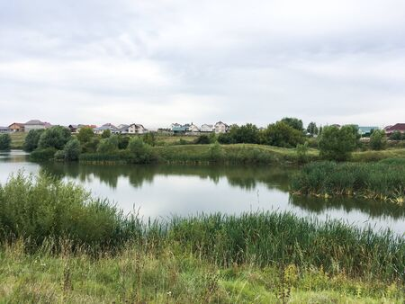 summer landscape with green grass and a small pond