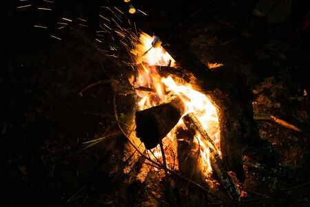 campfire at night from wooden logs in the open air close-up
