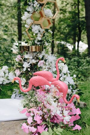 details of wedding decor in the forest in the open air