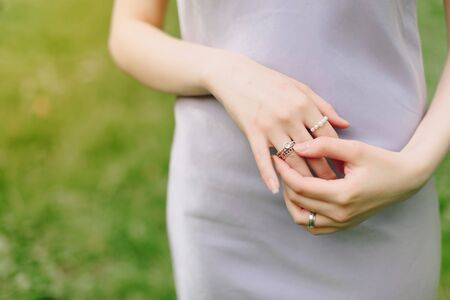 elegant thin hand of a girl with a ring close up 1
