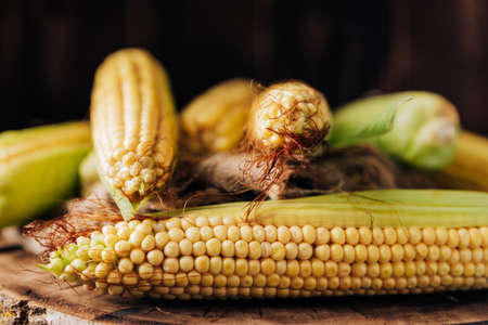 Fresh corn on the cob on a brown natural wood background close up