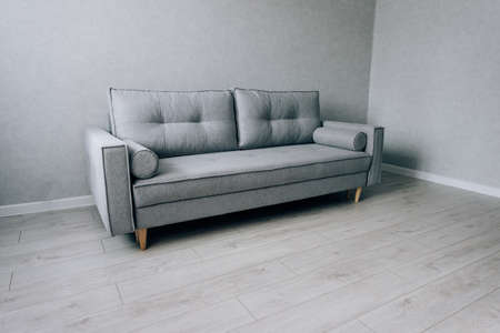 Modern gray sofa with wooden legs in the room