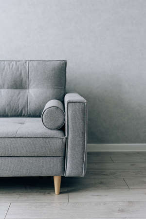 Modern gray sofa with wooden legs in the room 版權商用圖片