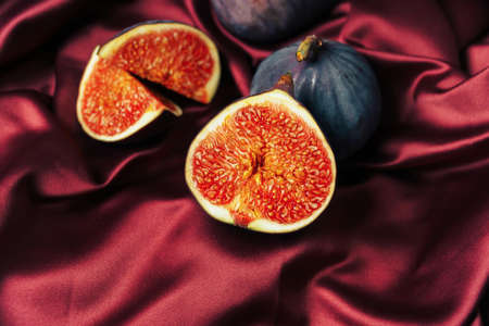 Fig in a cut on a satin fabric