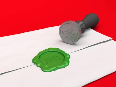 The letter sealed by a green sealing wax stamp. A New Year photo