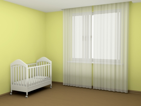 nursery room: White cot in an empty room Stock Photo