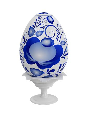 Eggs easter in gzhel style. Gzhel (a brand of Russian ceramics, painted with blue on white) photo