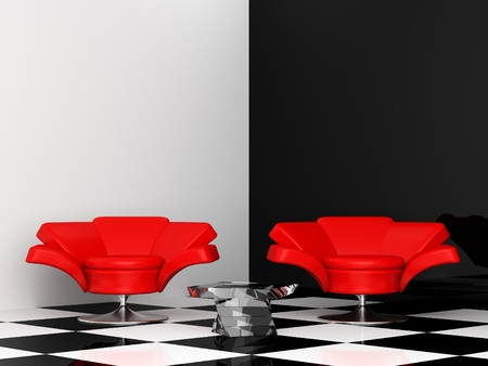 black-and-white interior with two red armchair 3d photo