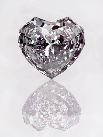 diamond heart on the white background 3d Stock Photo - 11908596