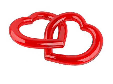 Red hearts of glass on white background Stock Photo - 11908545
