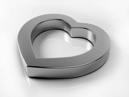 Silver heart on white background Stock Photo - 11908577