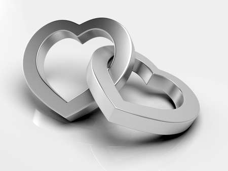 Silver hearts on white background photo