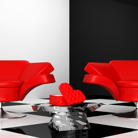 black-and-white interior with two red armchair with heart 3d photo
