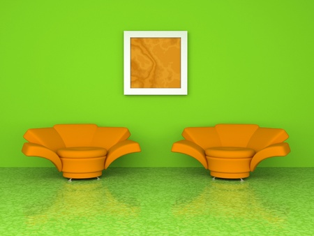 Green interior with two orange armchair 3d rendering photo